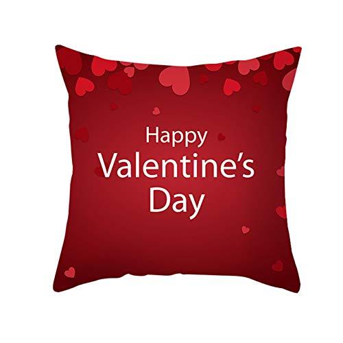 Fundas de Almohada para Cojines 45x45cm, Tema de amor Tema Red Heart Letra Impresiones CUBIERTA CUBIERTA PEACH PIEL PIEL Decorativo Caja de almohada Funda de almohada creativa para el sofá Sofá Car Co