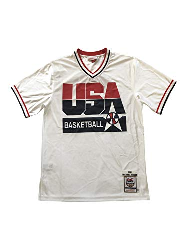Mitchell & Ness Men's Michael Jordan Hardwood Classics 1992 USA Basketball Dream Team Shooting Shirt White Jersey (Large, White 21159014)