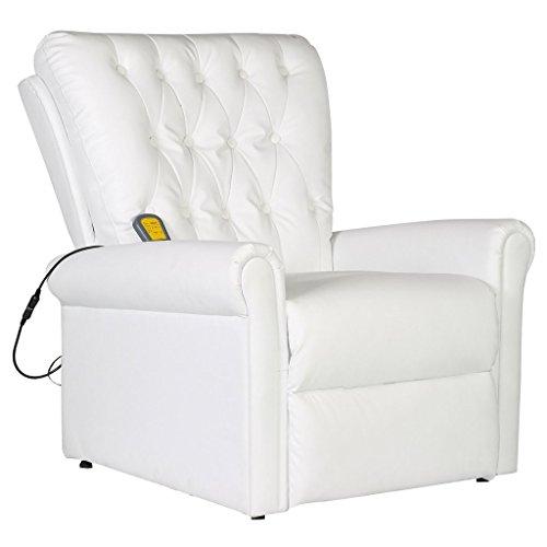 Festnight Elektrischer Massagesessel mit Heizfunktion Massage-Ruhesessel aus Kunstleder mit Fernbedienung Wei?