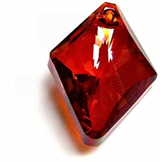 2 pcs Swarovski Crystal 6320 Rhombus Red Magma Charm Pendant Bead 14mm / Findings/Crystallized Element