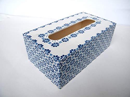 Caja de pañuelos, Porta Toallitas Faciales Caja de Madera Rectangular Dispensador de Papel Servilletas Toallitas Azul 25 x13 x 8 cm