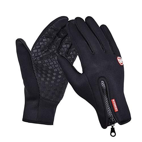 IAMZHL Outdoor Sports Windstopper wasserdichte Handschuhe Schwarzer Reithandschuh Motorradhandschuhe Touchscreen Schwarz Vollfinger Herren-Black-8-XL