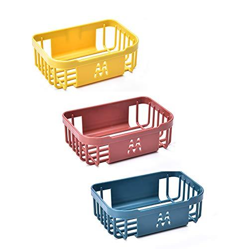 KuanDar clo Estante De Almacenamiento del Baño De La Cocina,Pared-Cesta De Almacenamiento Montada,Organizador De La Cesta De La Esquina del Bastidor Colgante (Amarillo + Rojo + Azul)