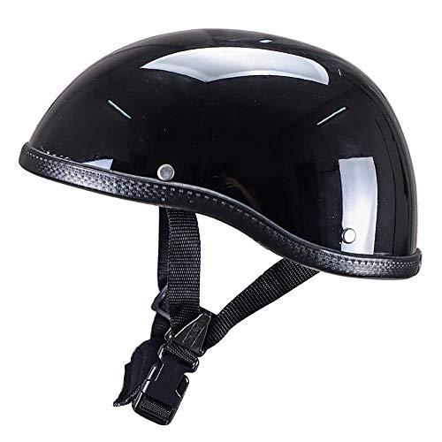 LIUJIE Helm Motorrad-Schale Helme, Helm Halb Motorrad Helme Harley Vintage-Open-Gesicht mit Löseriemen für Fast geeignet für Cruiser-Fahrrad-Roller ECE-geprüft,Dumbblack