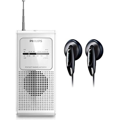 Philips AM FM Portable Pocket Radio with in-Ear Headphones (White)