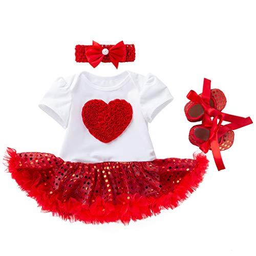 YWLINK MäDchen Hochzeit Abendessen Festival Kleiden Anzug Kurze ÄRmel Paillette Herz Tutu Kleid + Schuhe Outfits + StirnbäNder Set(Rot,59)