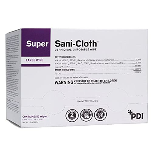 """PDI Healthcare H04082 Super Sani-Cloth Germicidal Disposable Wipe, 5"""" Width, 8"""" Length (Pack of 50)"""