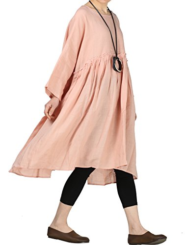 Mordenmiss Women's Linen Dresses Pleated A-line Plus Clothing XL Pink