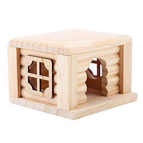 Juguete de cabaña de madera para hámster de mascotas, área de relajación...