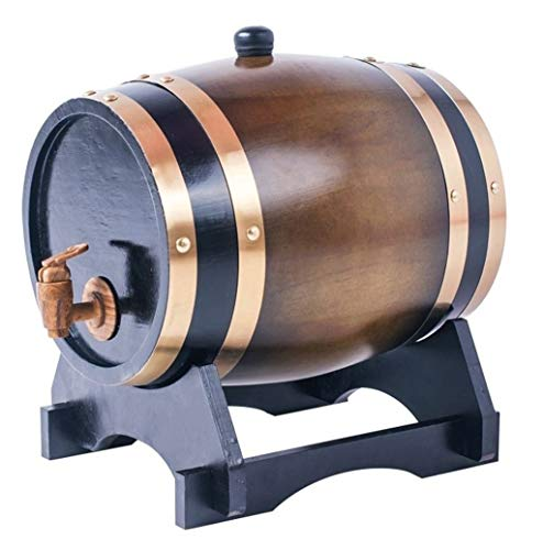Barril de Roble Toneles de Vino Barril de Madera Barril de madera, barril de roble de 10L for cerveza whisky brandy tequila (con grifo) (Color : Brown)