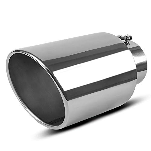 AUTOSAVER88 5 Inch Inlet Chrome Exhaust tip, 5' x 8' x 15' Universal Stainless Steel Diesel Exhaust Tailpipe Tip for Truck Cars, Bolt/Clamp-On Design