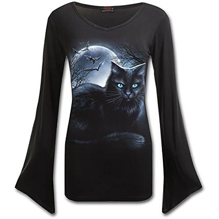 Spiral - Mystical Moonlight - Camiseta con Mangas de Estilo gótico - Cuello de Pico - Negro - XXL