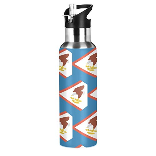 Botella de agua deportiva con bandera de Samoa Americana de acero inoxidable 304, botella de agua aislada al vacío con pajita (600 ml)