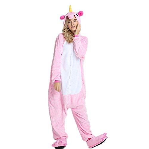 VineCrown Adulte Licorne Pyjama Déguisement Combinaison Costume Grenouillère Nouveauté à Capuche Animal Pyjamas Nuit Vêtements Halloween Carnaval Noël (S for 150CM- 160CM, Pink)
