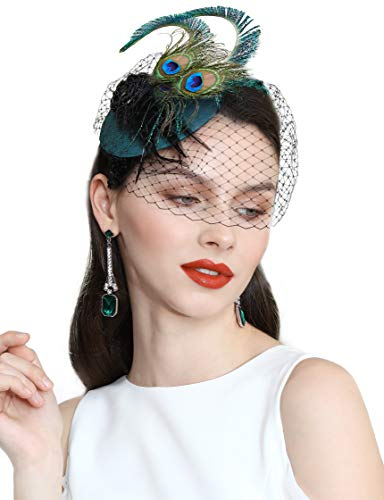 BABEYOND 1920s Flapper Fascinator Feather Pillbox Hat Fascinator for Tea Party (Peacock-4)