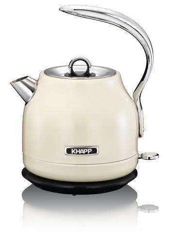 KHAPP 15130008 - Retro - Premium Wasserkocher aus Edelstahl - Kabellos - 2025 Watt -1,20 Liter - Teekessel - (creme)