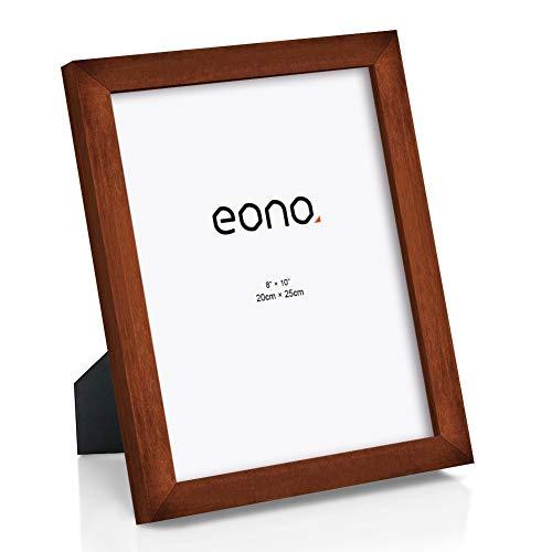 Eono by Amazon - Marco de Fotos de Madera Maciza y Cristal de Alta Definición para Pared o Sobremesa 20x25 cm Marrón