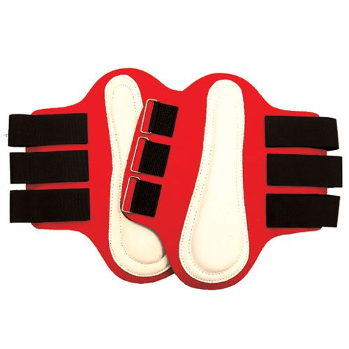 Intrepid International Splint Boots with White Leather Patches, Large, Red -  114264