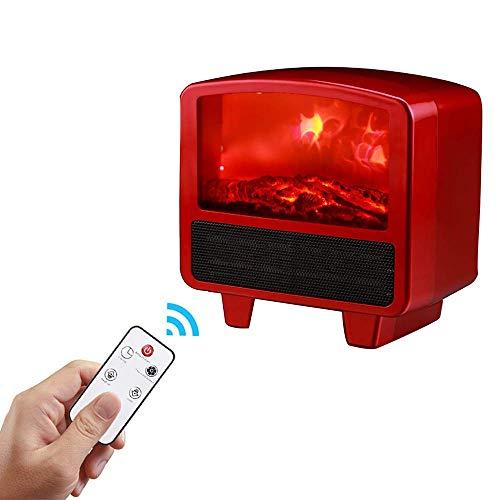 Yxxc Calentador, Mini chimeneas eléctricas lámpara calefacción de la Estufa Efecto de Llama LED Realista Regulable y calentado continuamente con Control Remoto para Ajuste de temperatur