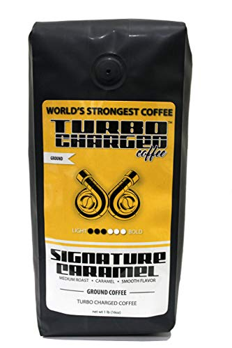 World's Strongest Coffee - Turbo Charged Coffee - Ground Coffee (Caramel, 16 Ounce)