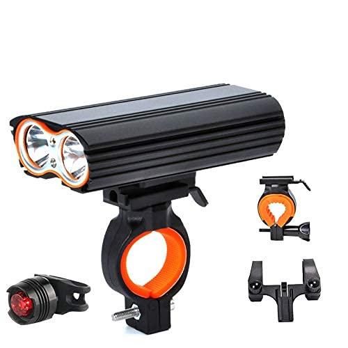SKYEI Bike Light, Bicycle Lights USB Bike Light 2X XML-LED LED 24000LM Faro Faro 2 Batteria T6 LED Lampada da Ciclismo Lampada da Ciclismo Torcia elettrica