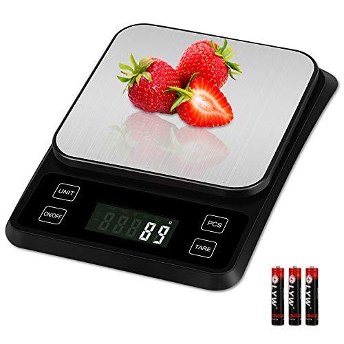 Zorara Küchenwaage, Digitale Küchenwaage mit Tara, Digitalwaage 5kg, Präzision auf bis zu 0.1g, Professionelle Electronische Waage mit LCD Display, Maximalgewicht, Inklusive Batterie (Schwarz)