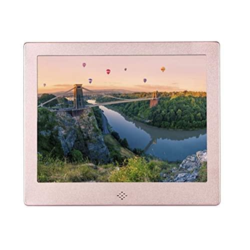 WYZXR Digitaler Bilderrahmen, Elektrische Bilderrahmen mit 8-Zoll-IPS-Bildschirm HD-Bilderalbum Unterstützung MP3 MP4 Videoplayer Uhr Kalender mit Fernbedienung,Silber,US