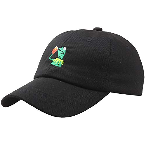 shinyis Kermit The Frog Sipping Tea Adjustable Strapback Cap Unisex Baseball Cap Dad Hat Black