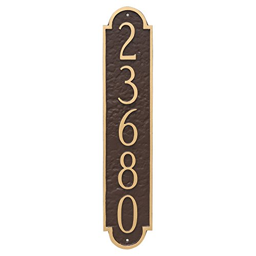 "Montague Metal PCS-0128S1-W-BW Rockford Column Address Sign Plaque, 18.75"" x 3.75"", Black/White"