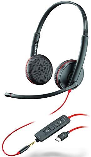 Plantronics Stereo-Headset 'Blackwire C3225' mit USB-C & 3,5 mm Anschluss, Noise Cancelling, Soundguard und flexiblem Mikrofonarm, Schwarz