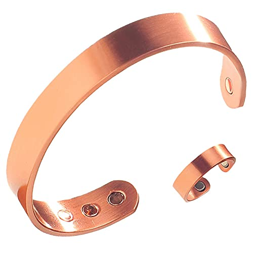 Earth Therapy, The Original Pure Copper Magnetic Ring and Bracelet Set for Joint Pain Relief - Slim Minimalist Style - Adjustable - For Men and Women