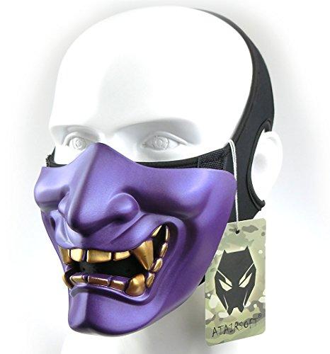 WorldShopping4U Taktische schützende Paintball Airsoft Kunststoff Cosplay Kabuki Samurai Dämon Halbe Gesichtsmaske Lila