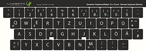 Lacerto® | 15x15mm Deutsche Aufkleber für PC/Laptop & Notebook Tastaturen mit mattem kratzfestem Laminat, Germany Keyboard Stickers QWERTZ | Farbe: Schwarz