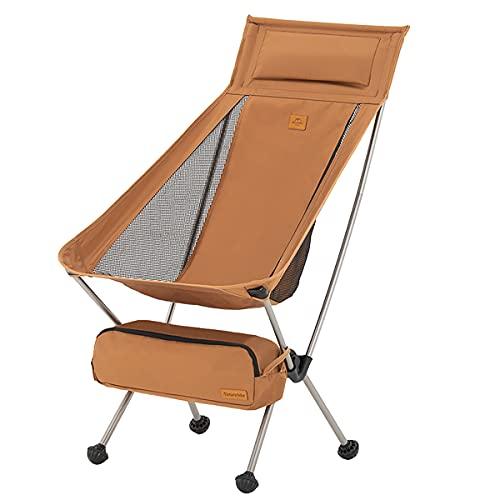 Naturehike Silla Plegable Camping Plegable Silla de Playa Plegable Silla al Aire Libre Portátil para Acampar, Hacer Picnic, IR de Excursión,Pescar (Amarillo L)
