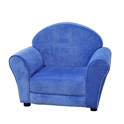 Yaunli - Sofá para niños con respaldo tapizado, sillón de diseño ergonómico, ideal para sala de juegos, dormitorio, sala de estar, sofá plegable (color azul, tamaño: 63 x 40 x 53,5 cm)