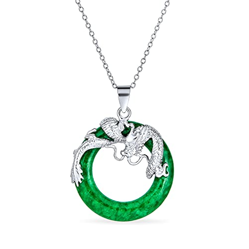 Estilo asiático abierto redondo círculo disco teñido verde jade dragón colgante collar para las mujeres 925 plata de ley 18 pulgadas