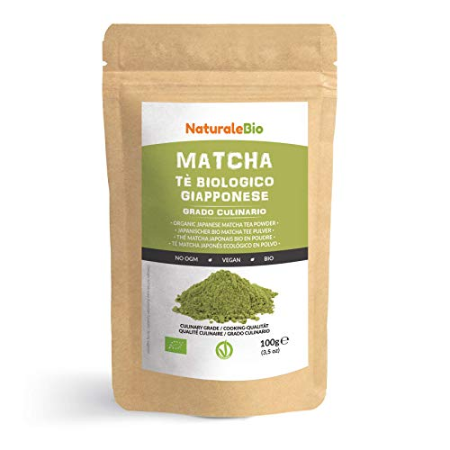 Japanese Organic Matcha Green Tea Powder [ Culinary Grade ] 100 gr. Tea Produced in Japan, Uji, Kyoto. Use for Cooking, Baking, Smoothie Making and with Milk. Vegan & Vegetarian Friendly