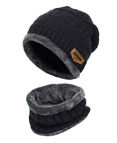 K.tchard Kinder Wintermütze Beanie Hut mit Schal Set Slouchy Strickmütze Warme Knit Skull Cap Fleecefutter Hat 2-8 Jahre