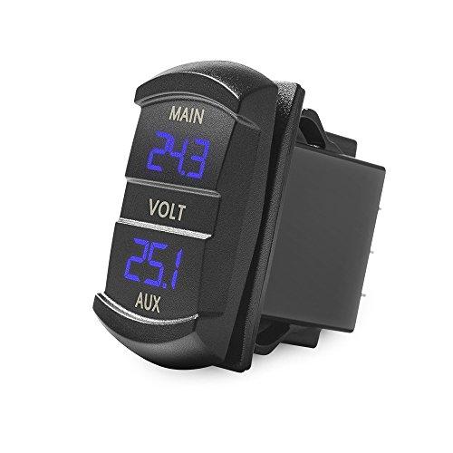 MICTUNING Digitales LED-Voltmeter, Kippschalter-Stil, Spannungsüberwachung, blau, für Auto, Pickup, Wohnmobil, LKW, Dual-Batterie-Pack