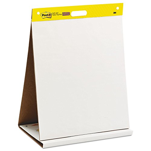 Post-it Super Sticky Tabletop Easel Pad, Great for Virtual Teachers and Students, 20 x 23 Inches, 20 Sheets/Pad, 1 Pad (563R), Portable White Premium Self Stick Flip Chart Paper, Built-in Easel Stand