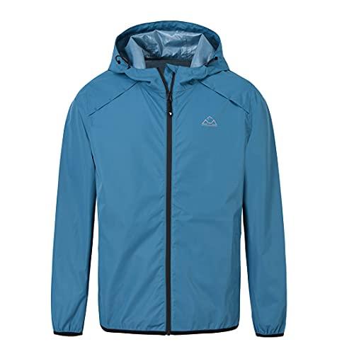 donhobo Regen Jacke Herren Wasserdicht Outdoorjacke Leichte Freizeitjacke Packbare Windjacke Regenmantel mit Kapuze (Blau, XL)
