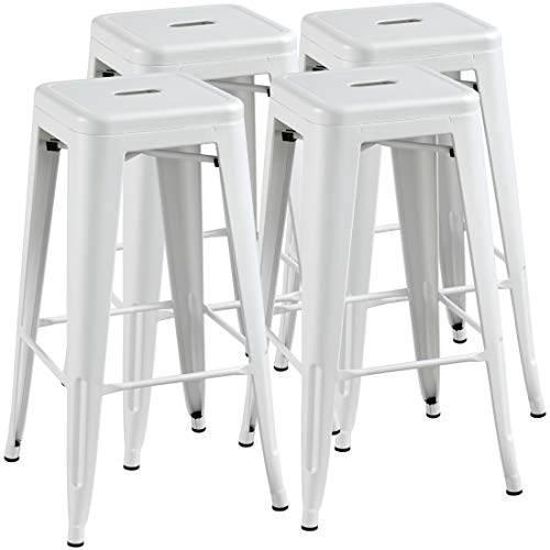 Yaheetech 30inch Barstools Counter Height Metal Bar Stools, Indoor Stackable Bartool Industrial for Bistro/Café/Kitchen Set of 4, White