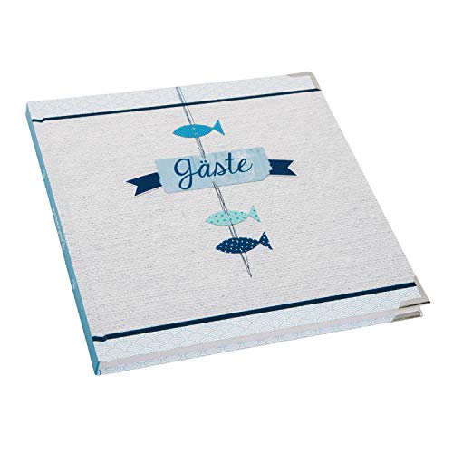 Logbuch-Verlag quadratisches Gästebuch hellblau blau weiß maritim - leeres Buch zum Einschreiben für Gäste Taufe Kommunion Junge