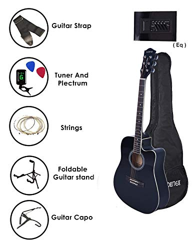 Kadence Frontier Jumbo Semi Acoustic Guitar,Super Combo (Bag, 1 pack Strings, Strap, Picks, Capo, Tuner and Guitar Stand) (natural)