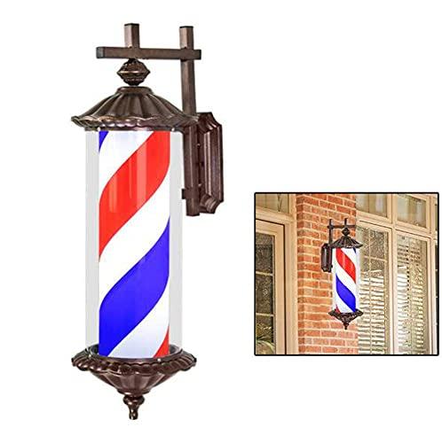 JUNWEN Barber Shop Classic Rotating Impermeable LED Stripes Polo Luz Lámpara Montada en la Pared Roma Estilo Pelo Salón Signo Rojo Blanco Azul, 30'/ 76cm / A