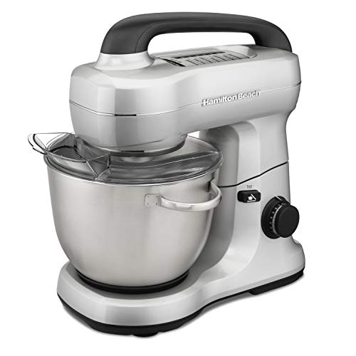 Hamilton Beach Electric Stand Mixer, 4 Quarts, Dough Hook, Flat Beater Attachments, Splash Guard 7 Speeds with Whisk, Silver