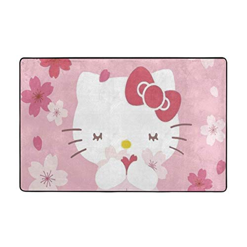 wenhe Alfombra grande antideslizante Hello Kitty con diseño de dibujos animados de Hello Kitty