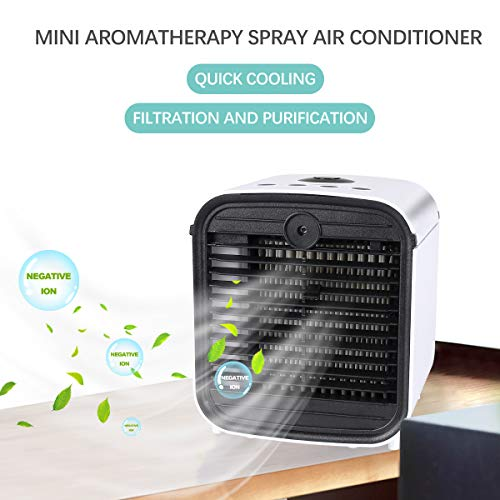Bilisder Portable Air Cooler, 4-in-1 Mini Air Conditioner Air Purifier Humidifiers Aroma Diffuser with 7 LED Lights 3 Speeds USB Personal Air Cooler Fan for Camping Tent, Office, Home