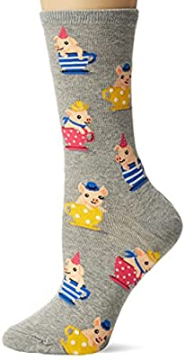 Hot Sox Women's Animal Series Novelty Casual Crew, Tea Cup Pigs (Grey Heather), Shoe Size: 4-10 (Sock Size: 9-11)