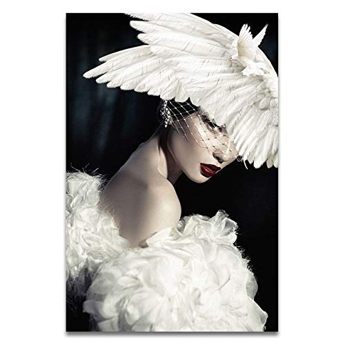 Schwarz Weiß Mode Frau Taube Flügel Hut Abstrakte Leinwand Poster Gemälde Bild Moderne Wohnkultur 60x80cm